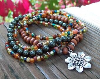 Bohemian Gypsy Stretch Beaded Bracelets with Flower Charm - Green Swarovski Pearl and Wood Bracelet Set