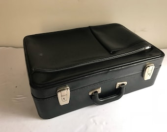 Old Vintage black leather Briefcase travel trunk suitcase