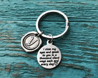 I close my eyes, and speak to you, Miscarriage, Loss of , Silver Keychain, Silver Keyring, Silver Jewelry, Memorial, mom, dad, Baby, Gifts