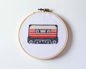 Retro Cassette Tape Cross Stitched Hoop Art, Mixed Tape, Music