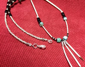 Porcupine Quill / Turquoise gemstone necklace