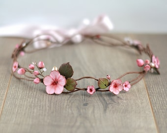 Floral hair wreath Bridal flower crown Sakura wedding crown Cherry blossom hair wreath Sakura bridal crown Woodland hairpiece Flower girl