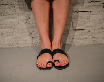 Black Leather Sandals, Summer Flats, Women Shoes, Leather Flats, Greek Sandals