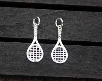 2 Sterling Silver Tennis Racket Charms,Sterling Silver Badminton Racket Charms, Sports Charms