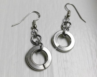 Simple Modern Jewelry, Silver Round Dangle Earrings, Stainless Steel Industrial Jewelry, Non Tarnish