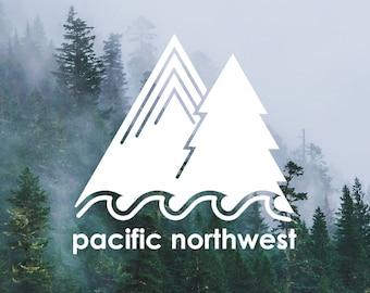 Pacific Northwest PNW Scene - Decal, Vinyl
