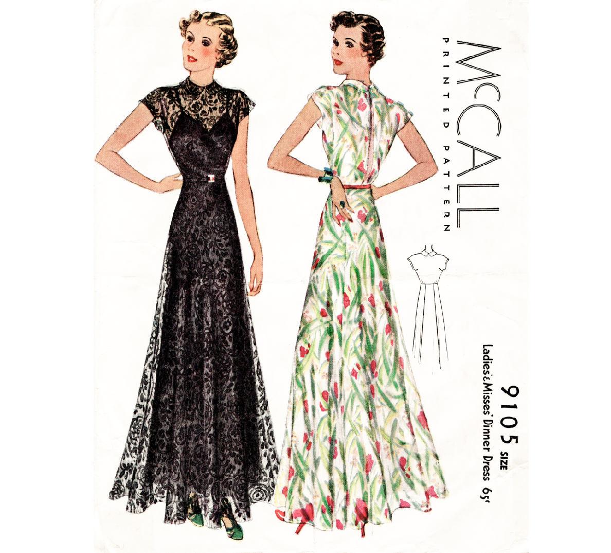 1930er Jahre Abendkleid / / Jahrgang Nähen Muster Reproduktion