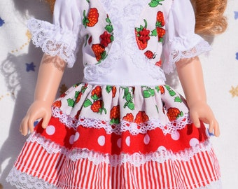 Cute red and white dress in strawberries, ladybugs, stripes and polka dots fits 14.5 inch dolls