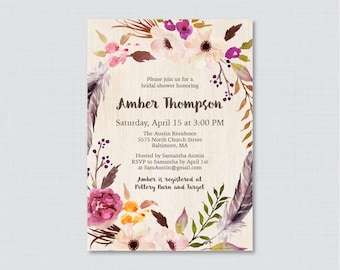 Bridal Shower Invitation Printable or Printed - Boho Bridal Shower Invites, Floral Bohemian Bridal Invitations with Flowers & Feathers 0006