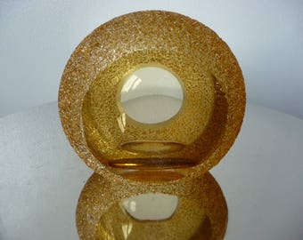 Vintage Retro Textured Amber Glass Tea Light Candle Holder Dreamlight Germany