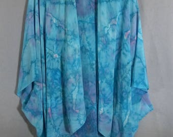 "Hand Painted Silk Ruana Cape ""Turquoise Blend"""