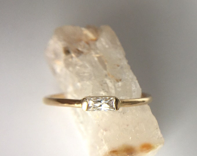 moissanite baguette ring