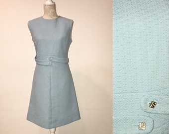 SALE!!! REGULAR PRICE 77eur!!! 1960s Vintage Crimplene Dress, Pastel Blue, Madmen Style Wiggle Dress, Sleeveless Dress