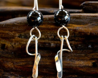 Spiral Dangle Earrings in Sterling Silver and Onyx