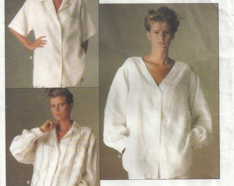 1980s Calvin Klein Oversized Shirt Extended Shoulders Front Button Back Pleat Vogue American Designer 1509 Misses' Size 10 Bust 32 1/2