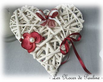 Burgundy and ivory Orchid heart wedding ring holder