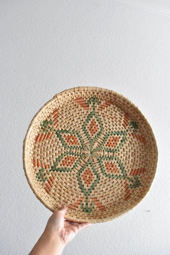 large woven straw star flower wall hanging basket