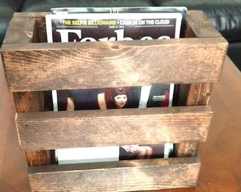 Wood Magazine Rack, Home Decor, Wood Menu Holder, Rustic Rack