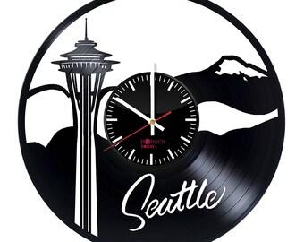 Seattle Skyline Vinyl Record Wall Clock Housewarming Gift Walt Disney Design Kids Room Decor