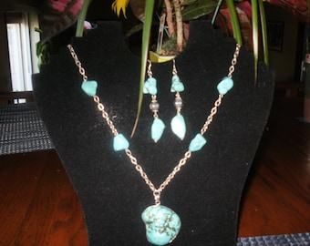 Turquoise beaded chain necklace set