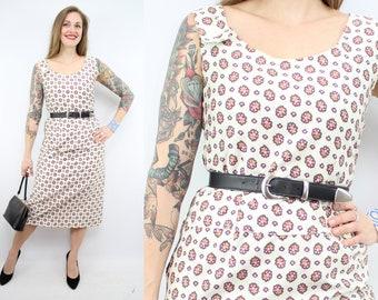 Vintage 60's White Sun Dress / 1960's Sheath Dress / Spring Summer / Women's Size Medium - Large