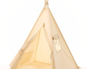 Kids teepee play tent wigwam lace,children's teepee,tipi,tent play teepee, natural canvas cotton lace tipi ,OEKO-TEX certificated materials