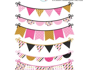 Bunting Clipart - Pink & Gold - clip art set of digital bunting, patterned bunting - personal use, small commercial use, instant download