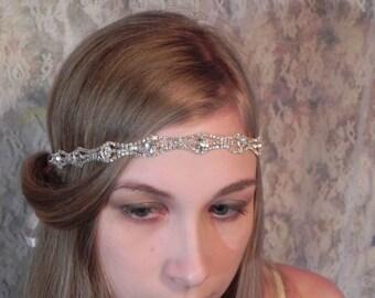 1920's RHINESTONE HEADBAND Art Deco Style Wedding Headpiece, Bridal Headband