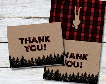 Lumberjack Thank You, Birthday Party Thank You, Lumberjack Theme, Thank You Card, Printable Thank You, Outdoorsy, Plaid, Trees, DIY