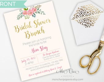 Floral Bridal Shower Invitation | Bridal Shower | Watercolor Floral  | Bridal Party Invitation | Printable Invitation