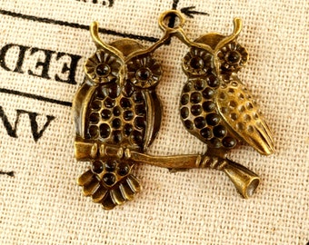 Owls on a branch charm 2 bronze vintage style pendant jewellery supplies