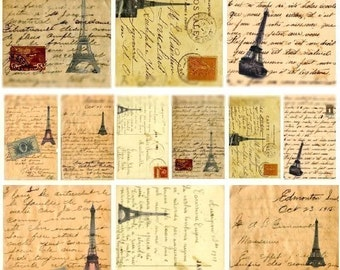 French Love Letters No. 2 - Digital Collage Sheet - Instant Download