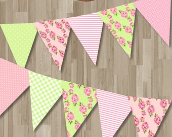 Shabby Chic Instant download Birthday Bunting Banner. Pink and Green Digital Printable