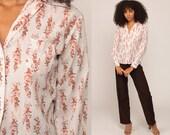 Floral Blouse 70s Boho Top Button Up Shirt Bohemian Long Sleeve 1970s Vintage Boho Hippie White Orange Medium