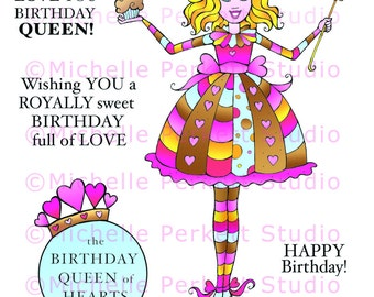 Digital  Stamp Set Images Birthday Hearts Queen Cupcakes Girly Cardmaking Scrapbooking Cute