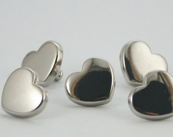 Heart Rivet Studs Silver Tone Decorative Rivets 13 mm. 10 sets.