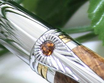 Art Deco Inspired Pen, Box Elder Burl Wood Pen with Golden Swarovski Crystal Inlay - Free Engraving