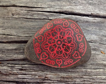 Hand painted stone, painted stone, meditation stone, housewarming gift, rock art, mandala stone, birthday present, desk decor, painted rock