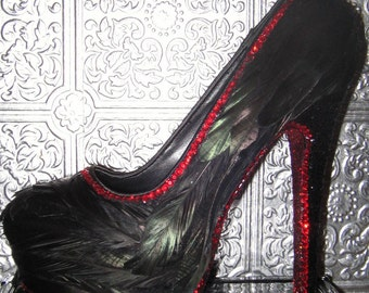 black feather heels/ heels with feathers/ rhinestone heels/ glitter heels/ shoes with feathers/ custom heels/ black heels/ blackbird heels