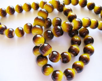 Glass Beads Brown/Yellow Round 8MM
