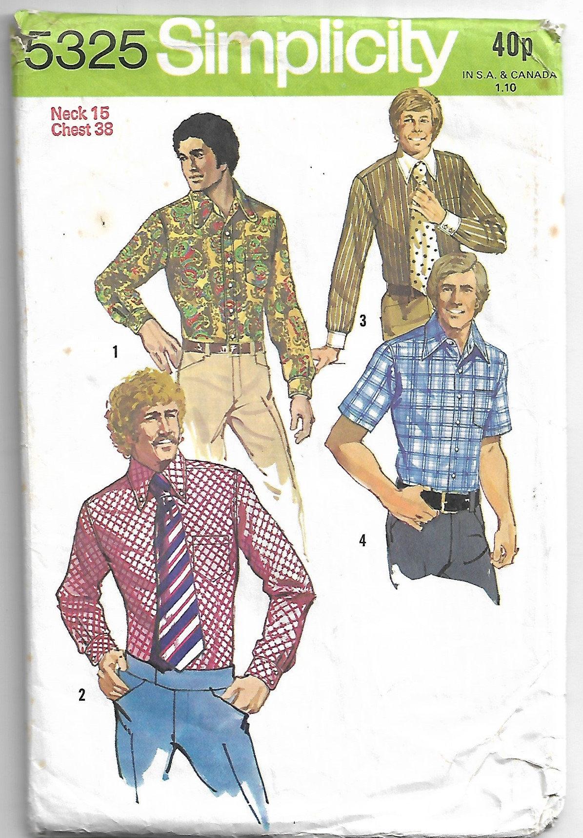 Mens Sewing pattern - shirt pattern - mens shirt pattern -Size 15 ...