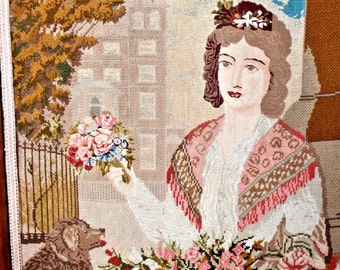 British 1800s Fire Screen Petite Point - Firepace Needle Point - Tapestry - Textile - Lady Dog - Flower  Bouque - Eliza Doolittle - London