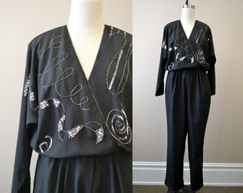 1980s Black Beaded and Sequined Jumpsuit