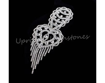 Crystal Beaded Applique, Glass Rhinestone Applique, Wedding Sash Applique, Beaded Patch For DIY Wedding Sash Accessories FRP43S