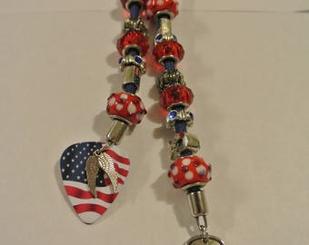 Red, White and Blue Keychain with Flag Gutiar Pick, Angel Wings and I Love my Soldier Charm