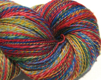 Handspun yarn, Deadhead DK weight 426 yards red blue green yellow rainbow yarn 2 ply Superwash BFL wool, Nylon, sock yarn, knitting supplies