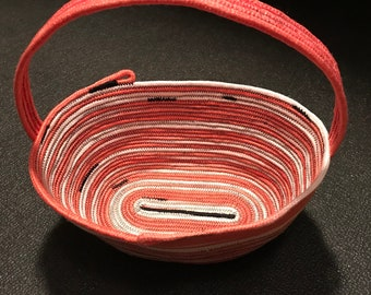 Pink ombre hand dyed rope bowl, rope basket