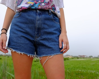 Vintage 90s Denim Cut offs by Liz Claiborne - 90s Light Wash Jean Shorts - Distressed High Waisted - 30 Waist