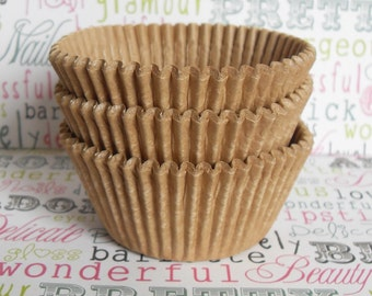 250 BULK Kraft Brown Unbleached Cupcake Liners, Natural Unbleached Kraft Brown Baking Cups, Natural Kraft Brown Cupcake Liners