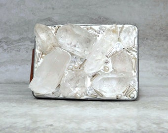 White Belt Buckle-Cool Rough Crystal Quartz Point Buckle with Cubic Zirconias (CZ) For Women /For Jeans//For Everyday 4116-17 buck